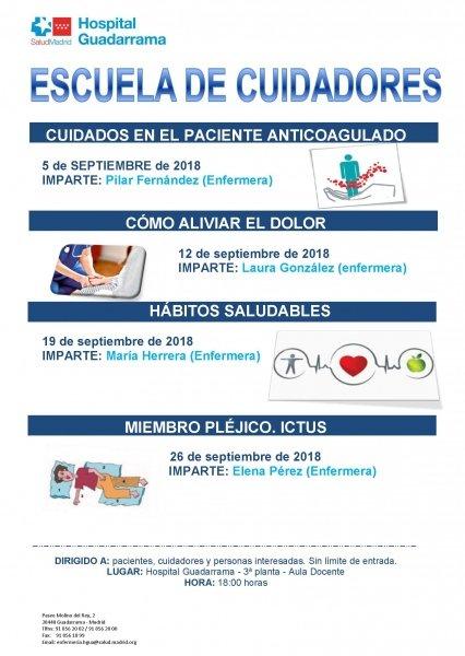 La Escuela de Cuidadores del Hospital de Guadarrama pone en marcha sus talleres de Septiembre