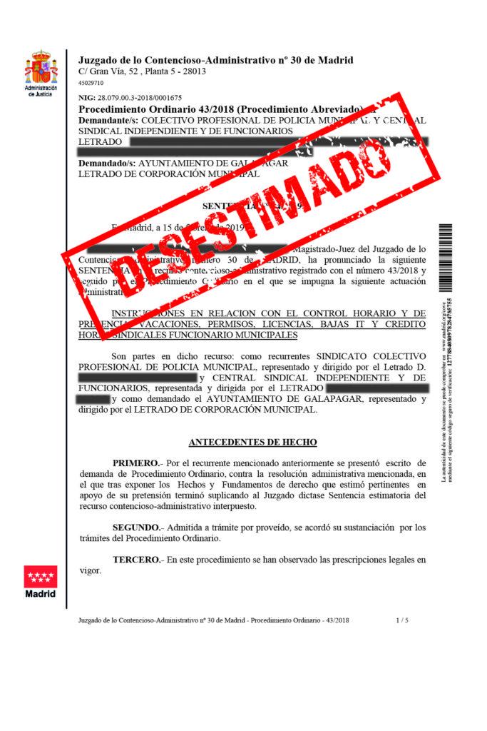 EL TRIBUNAL DESESTIMA LOS RECURSOS INTERPUESTOS POR LOS SINDICATOS POLICIALES DE GALAPAGAR