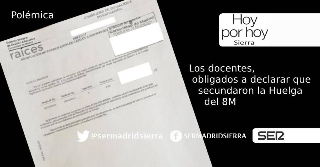 HOY POR HOY. LOS DOCENTES Y LA HUELGA DEL8 DE MARZO