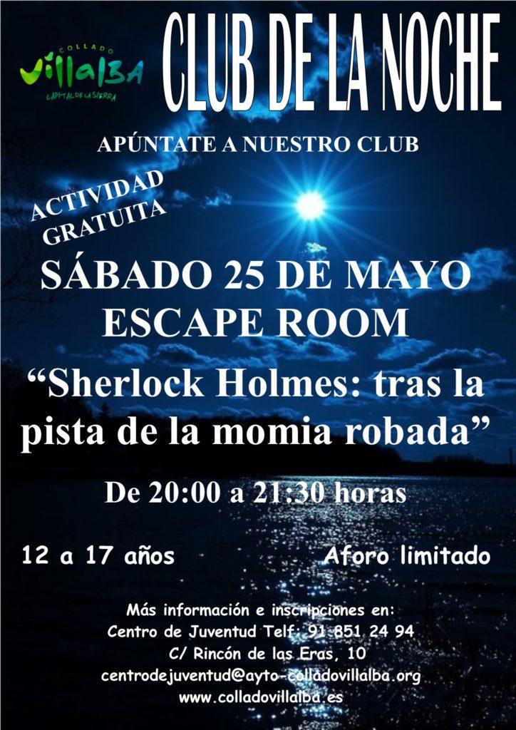 ESTE SÁBADO EN EL CENTRO DE JUVENTUD DE COLLADO VILLALBA, ESCAPE ROOM «SHERLOCK HOLMES: TRAS LA PISTA DE LA MOMIA ROBADA»