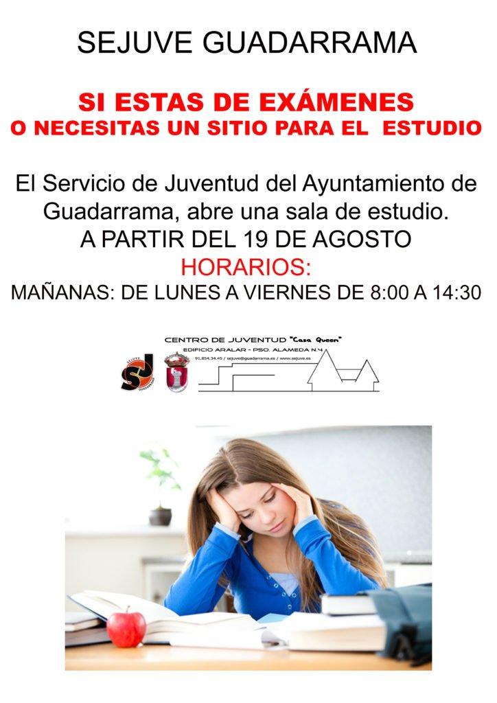 EL SERVICIO DE JUVENTUD DE GUADARRAMA VOLVERÁ A ABRIR LA SALA DE ESTUDIO EL PRÓXIMO LUNES 19 DE AGOSTO