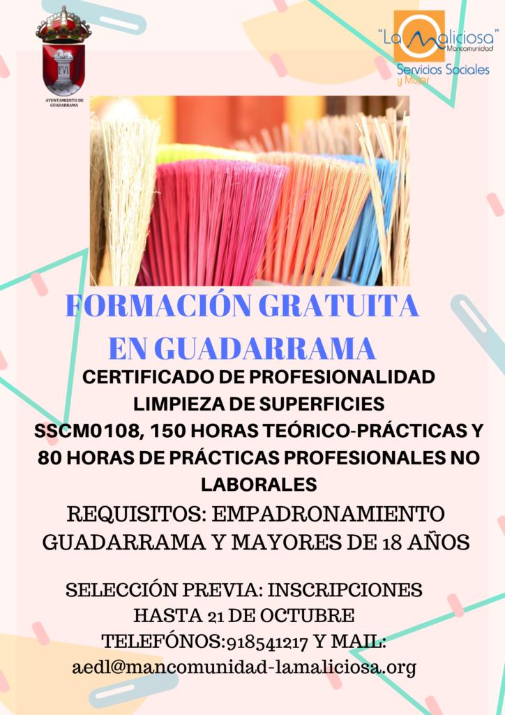 Guadarrama pone en marcha un curso subvencionado para la obtención del Certificado de Profesionalidad en Limpieza de Superficies