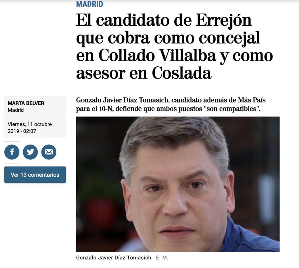 El concejal de Más Madrid Collado Villalba, Gonzalo Díaz, con dedicación al 50 por ciento en Collado Villalba está, también, empleado en Coslada