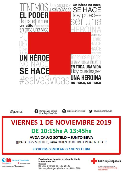 El 1 de Noviembre, la unidad móvil de donación de sangre de Cruz Roja visitará Becerril de la Sierra