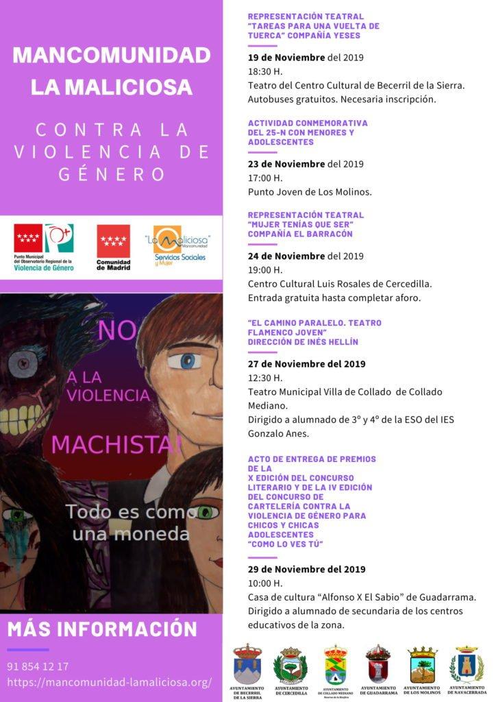 La Mancomunidad de La Maliciosa propone teatro y dinámicas grupales para conmemorar el Día Internacional para la eliminación de la Violencia contra la Mujer
