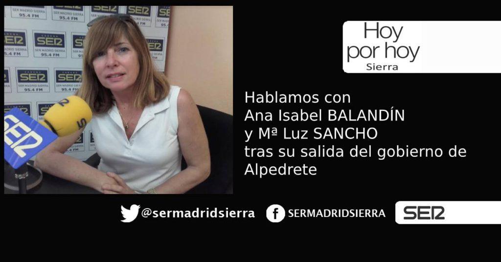 HOY POR HOY. Entrevista con ANA BALANDIN y Mª LUZ SANCHO, tras su salida del gobierno de Alpedrete