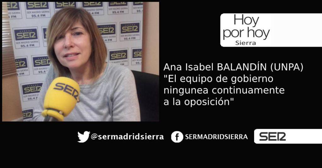 HOY POR HOY. Ana Isabel Balandín denuncia la inacción de gobierno de Alpedrete