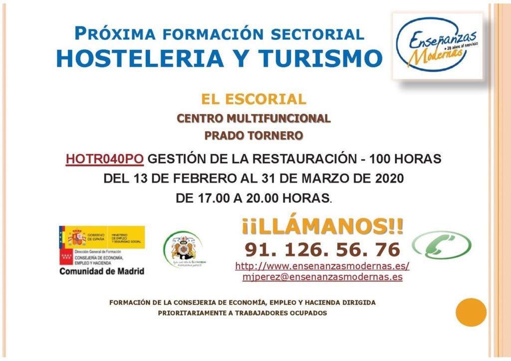 El Ayuntamiento de El Escorial propone un curso gratuito sobre formación sectorial de hostelería y turismo